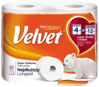 Фото Туалетний папір двошаровий 486 відривів Velvet Super Long & Soft Toilet Paper Longest